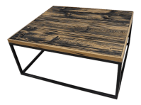 Modern Barnwood Wrought Iron Base Designer Coffee Table