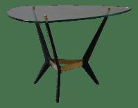Mid-Century Glass & Black Metal End Table | Chairish
