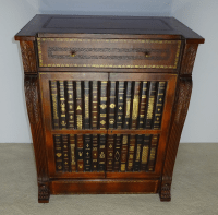 Maitland Smith Leather Faux Book Cabinet | Chairish