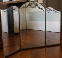 Antique Tri-Fold Vintage Vanity Mirror | Chairish