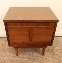 Danish Mid-Century Modern 2-Drawer Walnut Nightstand/End ...