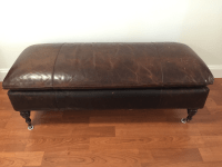 Restoration Hardware Leather Club Bench Ottoman | Chairish