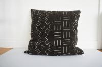 Vintage African Black Mudcloth Pillow - Larson | Chairish