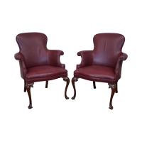 Southwood Mahogany Leather Barrel Chairs - Pair | Chairish