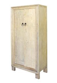 Chinese Rustic Rough Raw Tall Storage Cabinet | Chairish