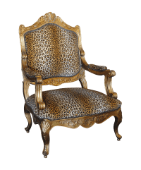French Louis XV Style Giltwood & Leopard Armchair | Chairish