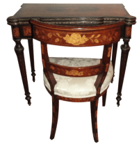 Antique Inlay Game Table Desk & Chair | Chairish