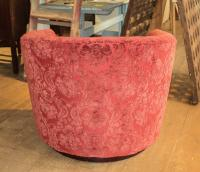 Mid Century Modern Red Swivel Club Barrel Chair | Chairish