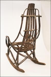 Vintage Adirondack Handmade Wood Rocking Chair | Chairish