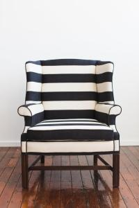 Large Upholstered Black and White Striped Chair | Chairish