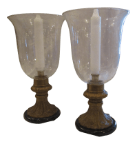 Bronze Hurricane Candle Holders | Chairish