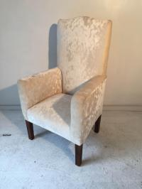 Mid-Century High-Back Ivory-Chenille Side Chair | Chairish