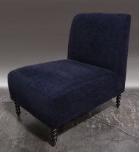 Navy Blue Slipper Chair - A Pair   Chairish