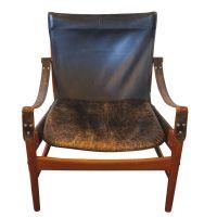 Hans Olsen Black Leather & Wood Safari Chair | Chairish