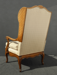 French Provincial Carved Tufted Wingback Chair | Chairish