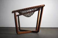 Rare Teak Cross Frame Mid-Century Rope Chair | Chairish