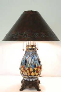 Tiffany Style Stained Glass Lamp With Shade   Chairish