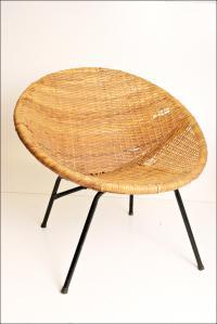 Mid-Century Modern Wicker Hoop Chair | Chairish