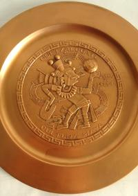 Aztec Motif Decorative Copper Plates - A Pair | Chairish