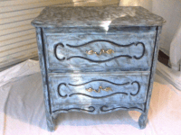 Vintage Shabby Chic Blue Nightstand