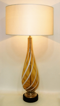 Italian Amber and White Striped Murano Glass Table Lamp ...