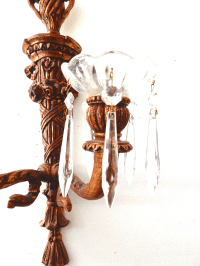 French Wood Candle Holder Sconces - Pair | Chairish