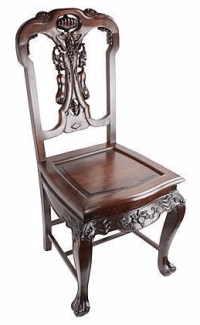 Qing-Dynasty Chinese SuanZhi Carved Chair | Chairish