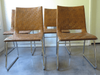 Modern Woven Leather Dining Chairs - Set of 4 | Chairish