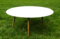 Vintage Mid-Century Modern Round White Marble Coffee Table ...