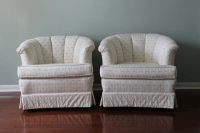 Upholstered Tufted Barrel Chairs - A Pair | Chairish