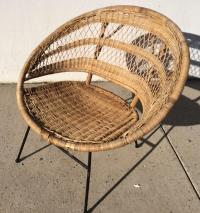 Mid-Century Modern Rattan Scoop Chair | Chairish