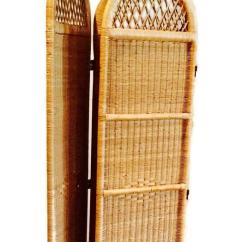 Folding Chairs For Less Staples Osgood Chair Warranty Vintage Wicker Rattan Screen Room Divider   Chairish
