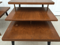 Mid-Century Three Tiered End Tables - A Pair | Chairish