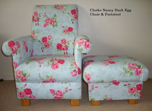 adult egg chair garden lounger covers clarke nancy duck fabric green pink floral armchair roses kitchen shabby chic