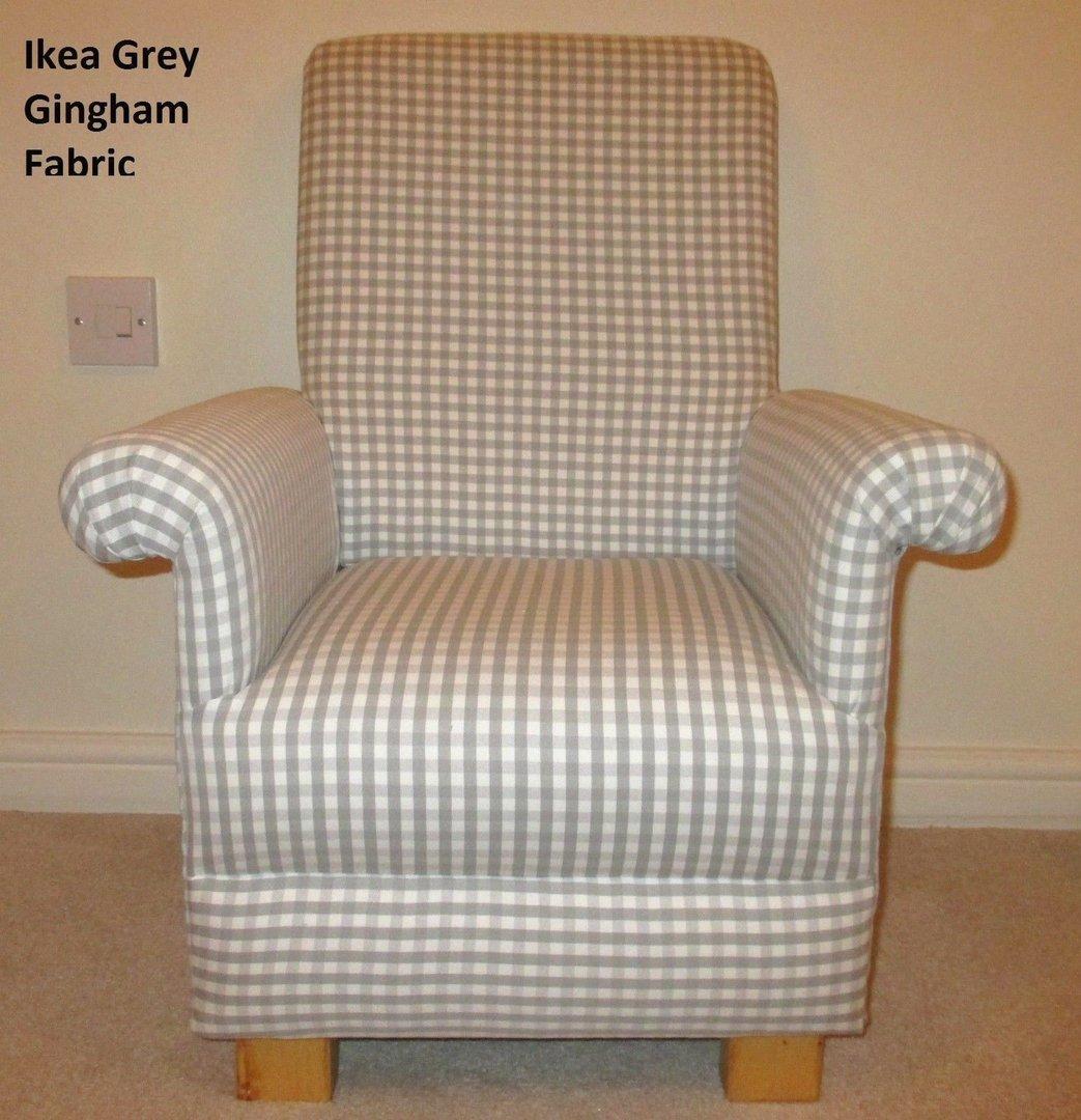 Ikea Grey Gingham Fabric Childs Chair Nursery Check Boys