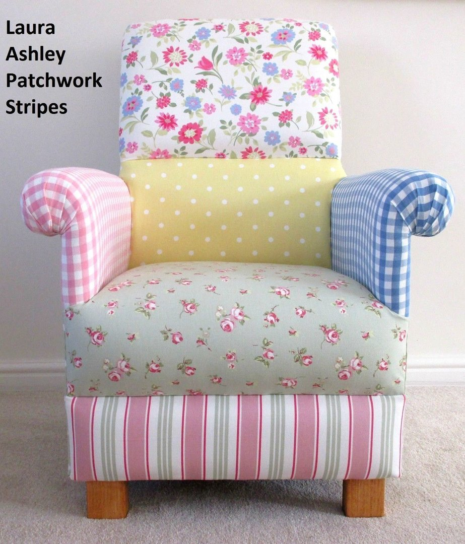 Ashley Chairs Laura Ashley Patchwork Fabric Adult Chair Stripes Spots Gingham Pink Lemon Floral Armchair Nursery