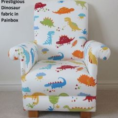 Blue Nursery Chair Oxo Seedling High Cover Prestigious Dinosaur Fabric Child S Paintbox Kids Armchair T Rex Bedroom