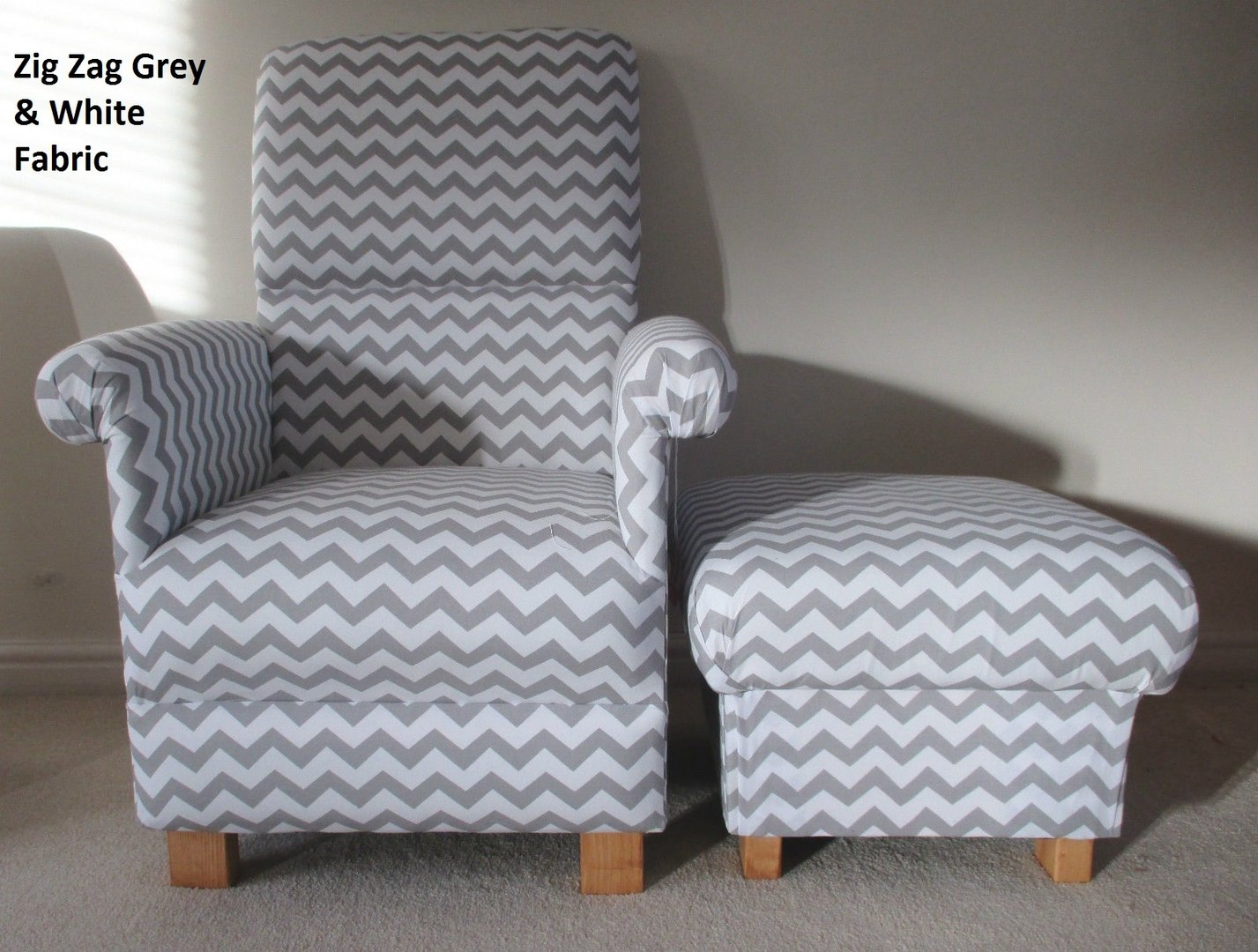 Zig Zag Grey  White Fabric Adult Chair  Footstool