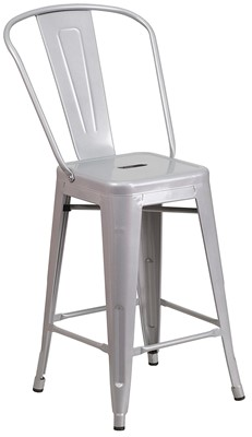 Flash Furniture Silver Metal Bar Stool - bar stool with short back
