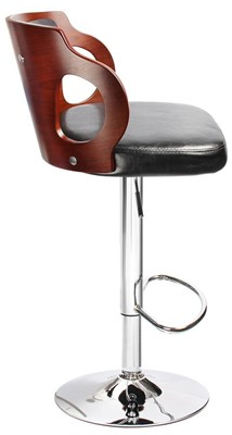 Homall Walnut Bentwood Adjustable Bar Stool - swivel bar stools with back metal