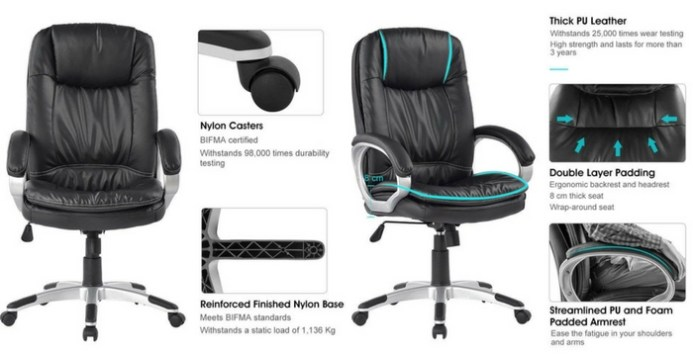 LANGRIA High-Back Executive Office Chair-Top 10 Best Office Chairs Reviews for Tall People Amazon