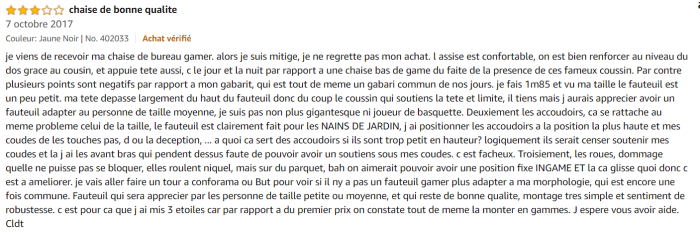 Fauteuil gamer Tectake - Avis client
