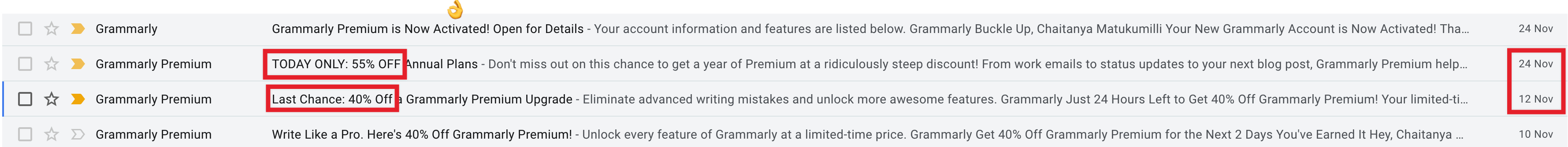 Grammarly promotional email