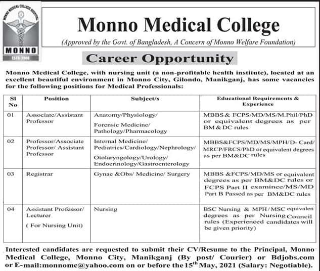 Monno Medical College & Hospital Job circular