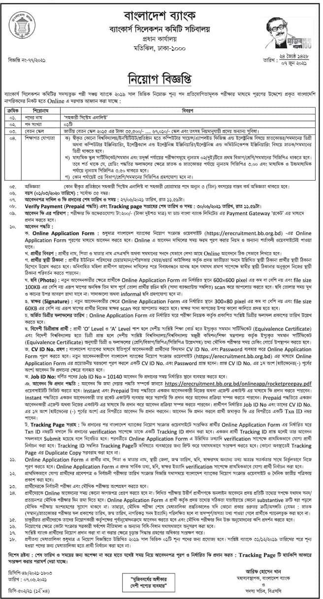 Job Circular At Bangladesh Bank