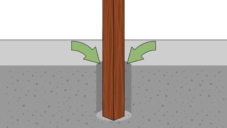fundação com mourões de madeira