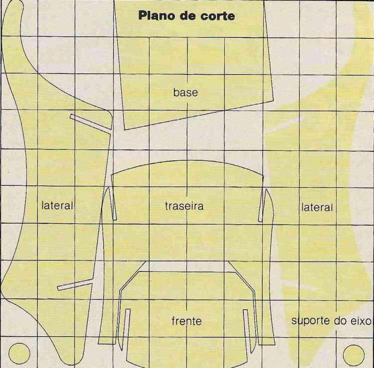 plano de corte peças carrinho de mão para crianças