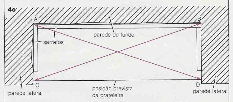 ilustração de instalação de prateleiras no passo 4c