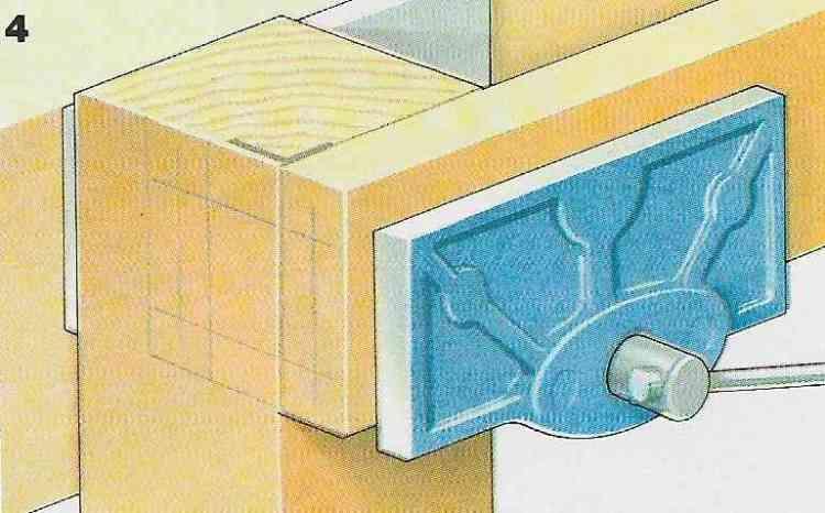 ilustração demonstrando a construção das juntas com cavilhas no passo 4