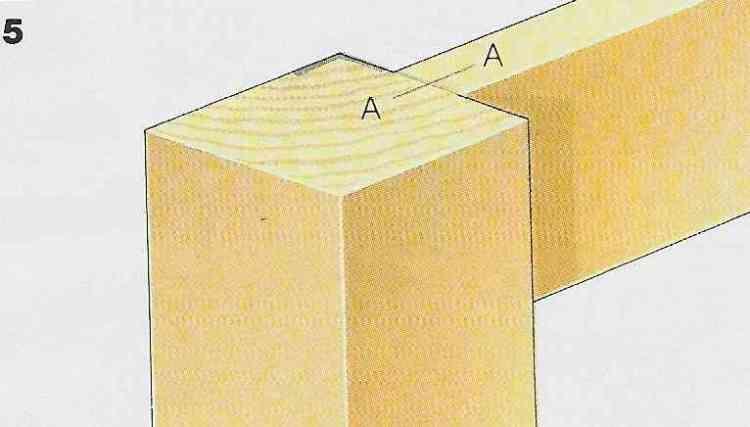 ilustração demonstrando a construção das juntas com cavilhas no passo 5